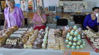The Cake table ladies presented the best cakes in town!